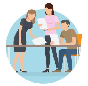 Start up poster, people working, women with papers and documents, man sitting on chair by table, vector illustration isolated on white background